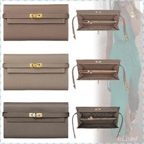 HERMES Kelly Blended Fabrics Plain Leather Long Wallets
