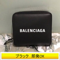 BALENCIAGA EVERYDAY TOTE Unisex Street Style Plain Leather Folding Wallets