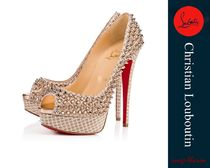 Christian Louboutin Open Toe Studded Pin Heels Party Style