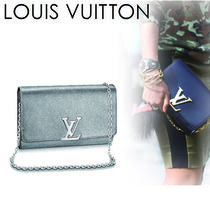 Louis Vuitton LOUISE 2WAY Chain Plain Leather Elegant Style Shoulder Bags