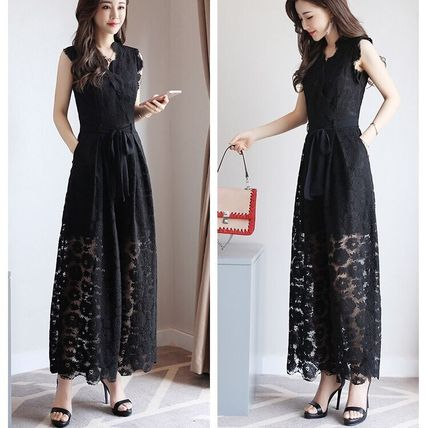Dresses Flower Patterns Sleeveless Long Party Style Lace Dresses 4