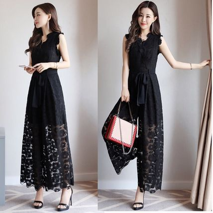 Dresses Flower Patterns Sleeveless Long Party Style Lace Dresses 6