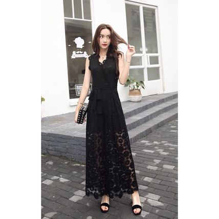Dresses Flower Patterns Sleeveless Long Party Style Lace Dresses 8