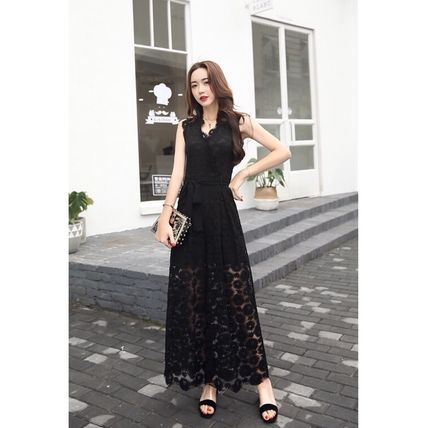 Dresses Flower Patterns Sleeveless Long Party Style Lace Dresses 9