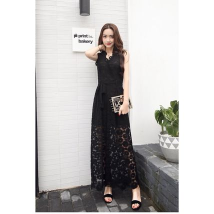 Dresses Flower Patterns Sleeveless Long Party Style Lace Dresses 10