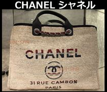 CHANEL DEAUVILLE Stripes Casual Style Cambus Blended Fabrics A4 2WAY Chain