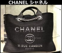 CHANEL DEAUVILLE Casual Style Cambus Blended Fabrics A4 2WAY Chain Totes