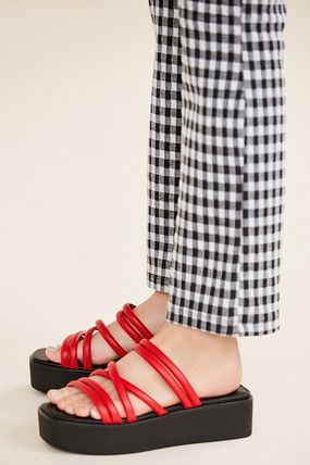 Open Toe Platform Casual Style Street Style Plain Leather