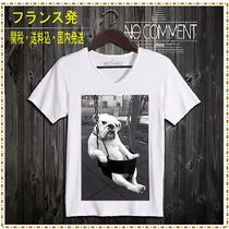 NO COMMENT PARIS Street Style V-Neck Cotton Short Sleeves V-Neck T-Shirts
