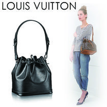 Louis Vuitton NOE Plain Leather Purses Elegant Style Shoulder Bags