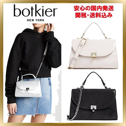 2WAY Chain Plain Leather Elegant Style Shoulder Bags