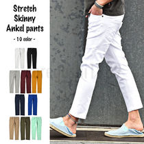 Unisex Street Style Plain Cotton Khaki Skinny Fit Pants