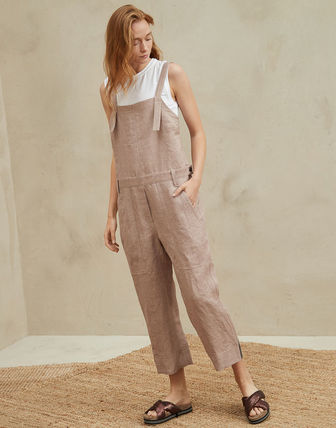 Dungarees Casual Style Linen Street Style Plain Long Dresses