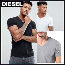 DIESEL V-Neck Plain Cotton Short Sleeves V-Neck T-Shirts