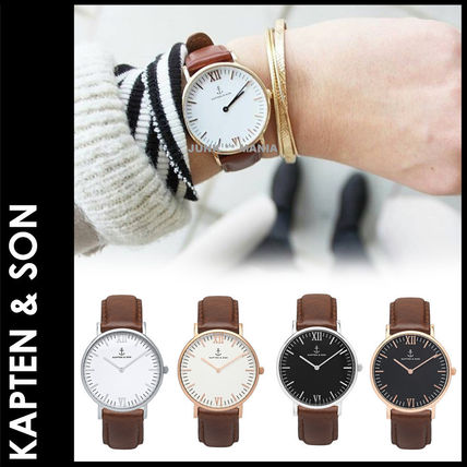 Casual Style Leather Round Quartz Watches Analog Watches