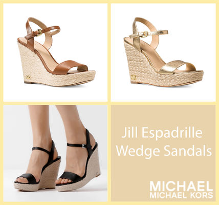 a51901660dc5 ... Sandals 11 Michael Kors Platform   Wedge Open Toe Casual Style Plain  Leather Platform   Wedge ...