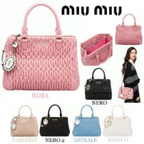 MiuMiu Casual Style Lambskin 2WAY 3WAY Chain Plain With Jewels