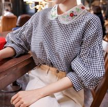 Gingham Puffed Sleeves Cotton Shirts & Blouses