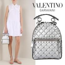 VALENTINO Casual Style Lambskin Studded Backpacks