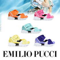 Emilio Pucci Round Toe Rubber Sole Casual Style Street Style Leather