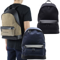 BALENCIAGA NAVY Unisex Calfskin Plain Backpacks