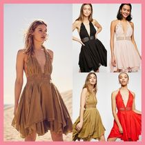 Free People Flared Halter Neck Cotton Medium Party Style Dresses
