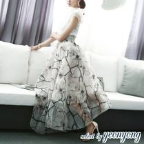 Flared Skirts Flower Patterns Medium Elegant Style