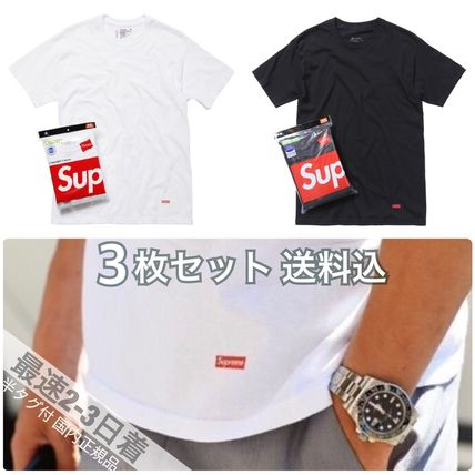 Supreme More T-Shirts Crew Neck Unisex Street Style Collaboration Plain Cotton