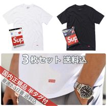 Supreme Crew Neck Unisex Street Style Collaboration Plain Cotton