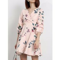 Short Flower Patterns Flared V-Neck Long Sleeves Party Style