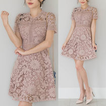 Flower Patterns Cotton Medium Short Sleeves Dresses