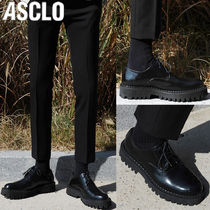 ASCLO Plain Toe Unisex Studded Street Style Plain Leather Oxfords