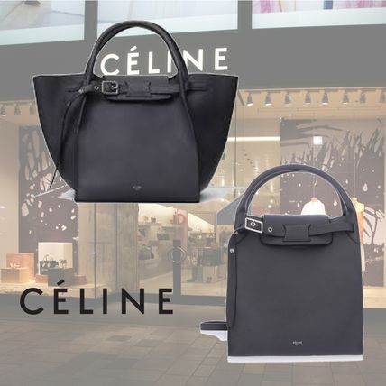 3WAY Plain Leather Elegant Style Totes