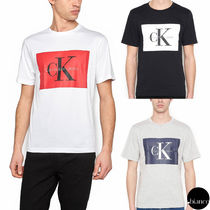 Calvin Klein Crew Neck Unisex Street Style Cotton Short Sleeves