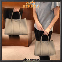 HERMES Garden Party Calfskin A4 Plain Elegant Style Totes