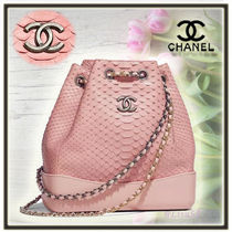 CHANEL Chain Leather Python Elegant Style Backpacks