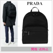 PRADA Unisex Nylon A4 Plain Backpacks
