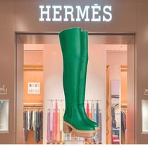 HERMES Casual Style Plain Over-the-Knee Boots