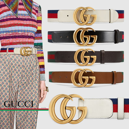 b35dcbebd0e GUCCI Sylvie Stripes Casual Style Blended Fabrics Leather Belts (409416  H17WT 8632