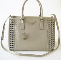 PRADA SAFFIANO LUX Saffiano Studded A4 2WAY Plain With Jewels Totes