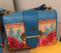 PRADA CAHIER Tropical Patterns Casual Style Blended Fabrics Leather