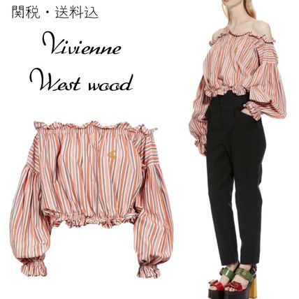 Short Stripes Casual Style Cotton Puff Sleeves Cropped