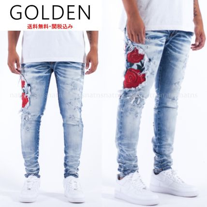 Flower Patterns Denim Street Style Skinny Fit Jeans & Denim