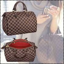 Louis Vuitton SPEEDY Other Check Patterns Canvas Blended Fabrics A4 Elegant Style