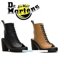 Dr Martens Open Toe Lace-up Casual Style Plain Leather Block Heels
