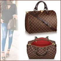 Louis Vuitton SPEEDY Other Check Patterns Canvas Blended Fabrics A4 Bi-color