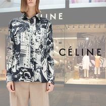 CELINE Silk Long Sleeves Medium Oversized Elegant Style