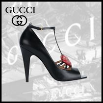 GUCCI Open Toe Leather Peep Toe Pumps & Mules