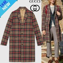 GUCCI Other Check Patterns Wool Long Chester Coats