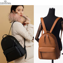 J.ESTINA Street Style A4 Plain Leather Office Style Backpacks
